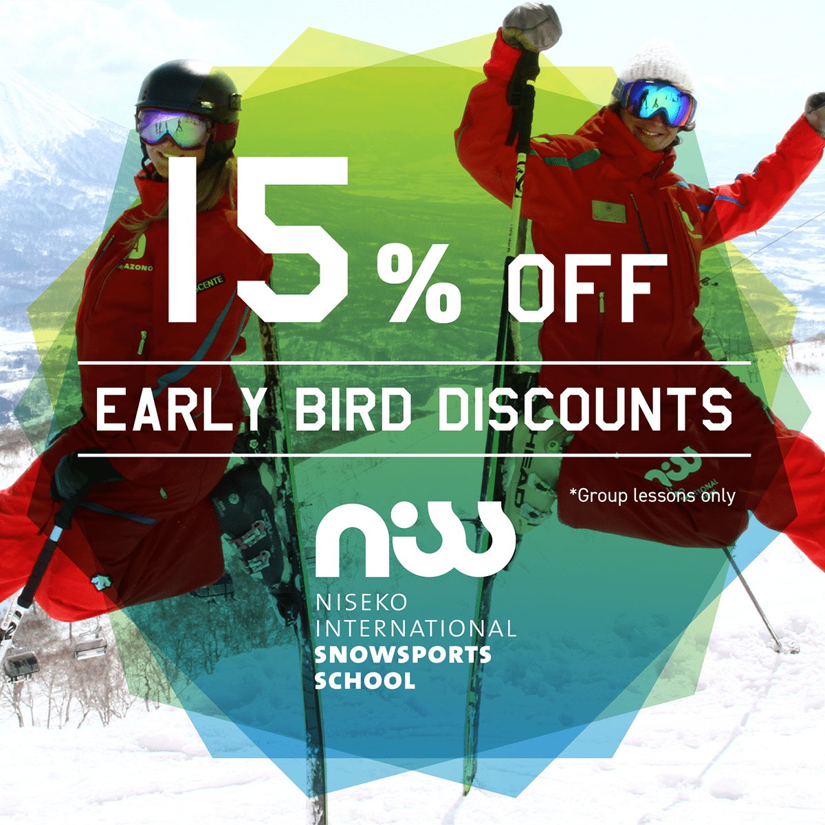 niss early bird special discount niseko ski lesson