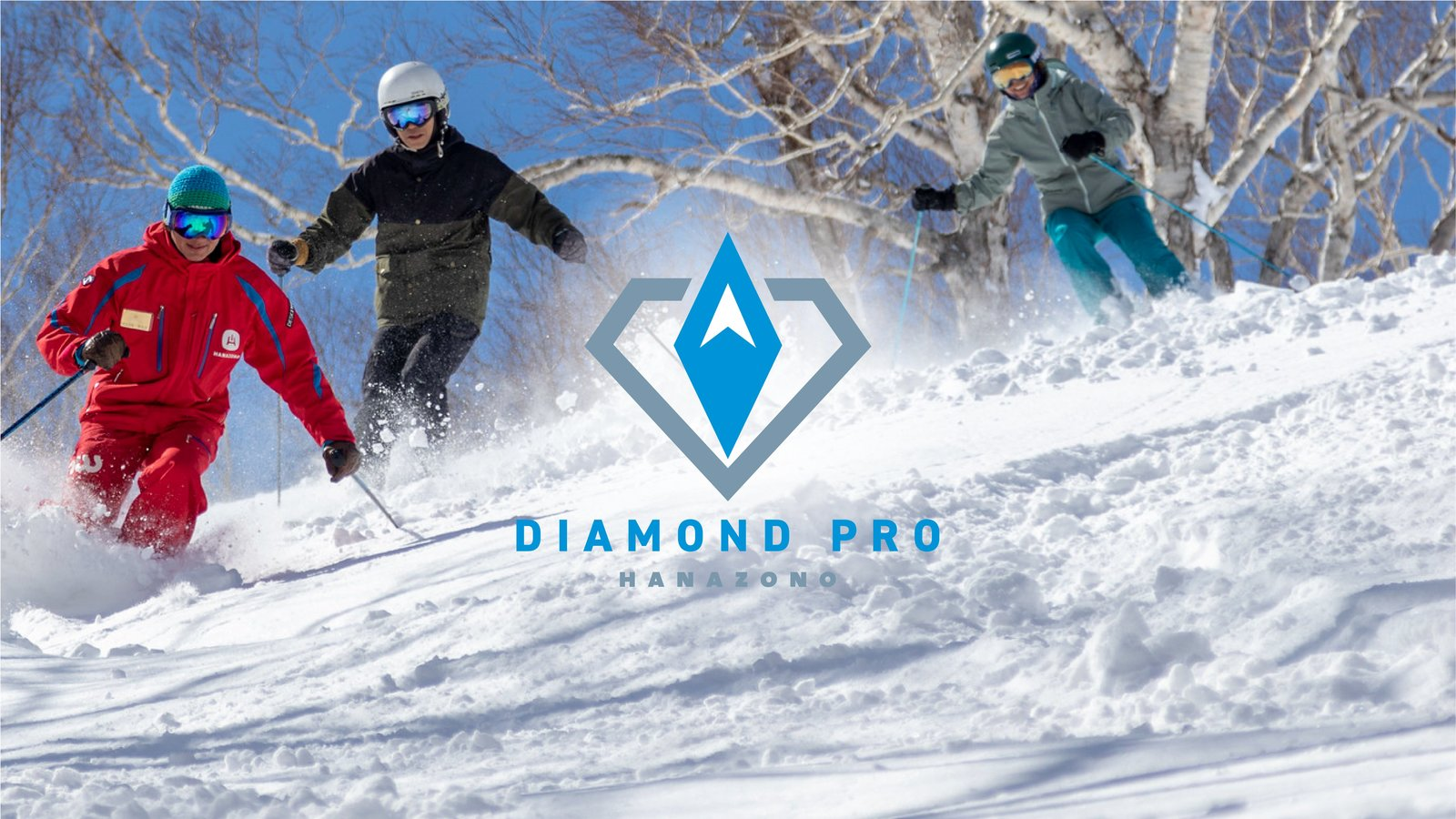 People taking a ski lesson with Diamond Pro