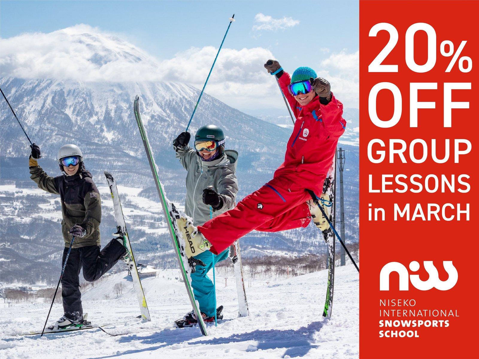 Skiers enjoying their ski lesson in Niseko, Hokkaido