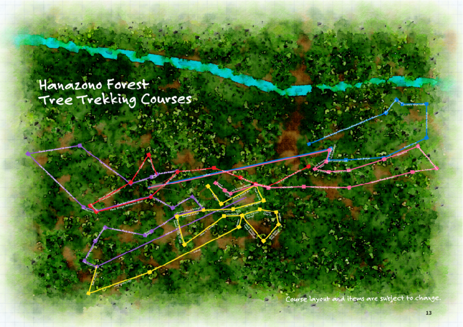 Hanazono Forest Tree Trekking course map