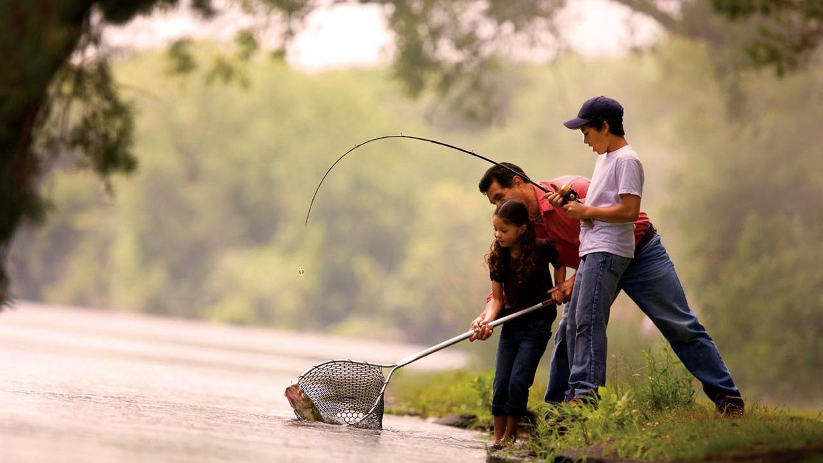 A family enjoying bait fishing