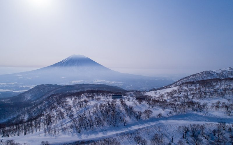 Drone photo of Hanazono Niseko Resort and Mt Yotei