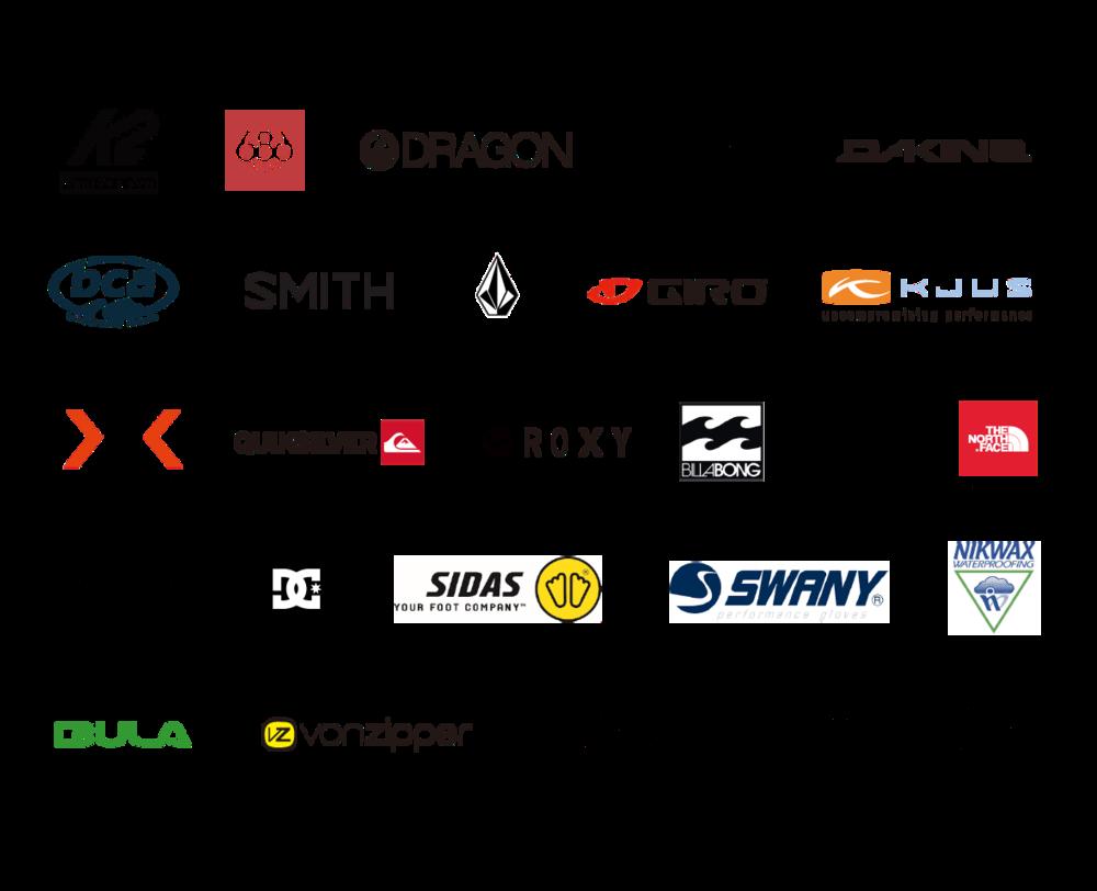 ニセコスポーツ取扱ブランドのロゴ一覧