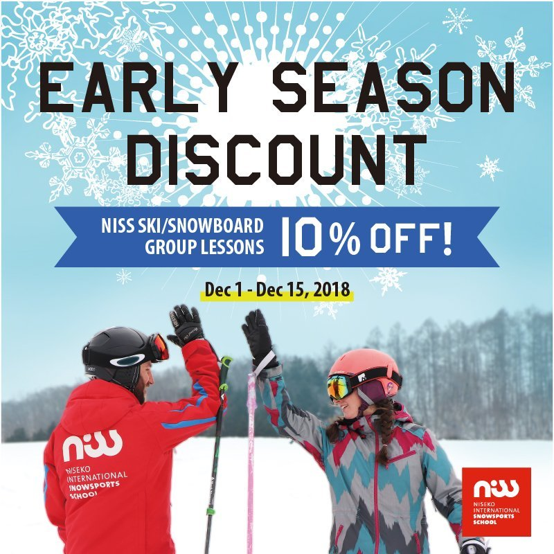 NISS early season discount 10% off for ski / snowboard group lessons