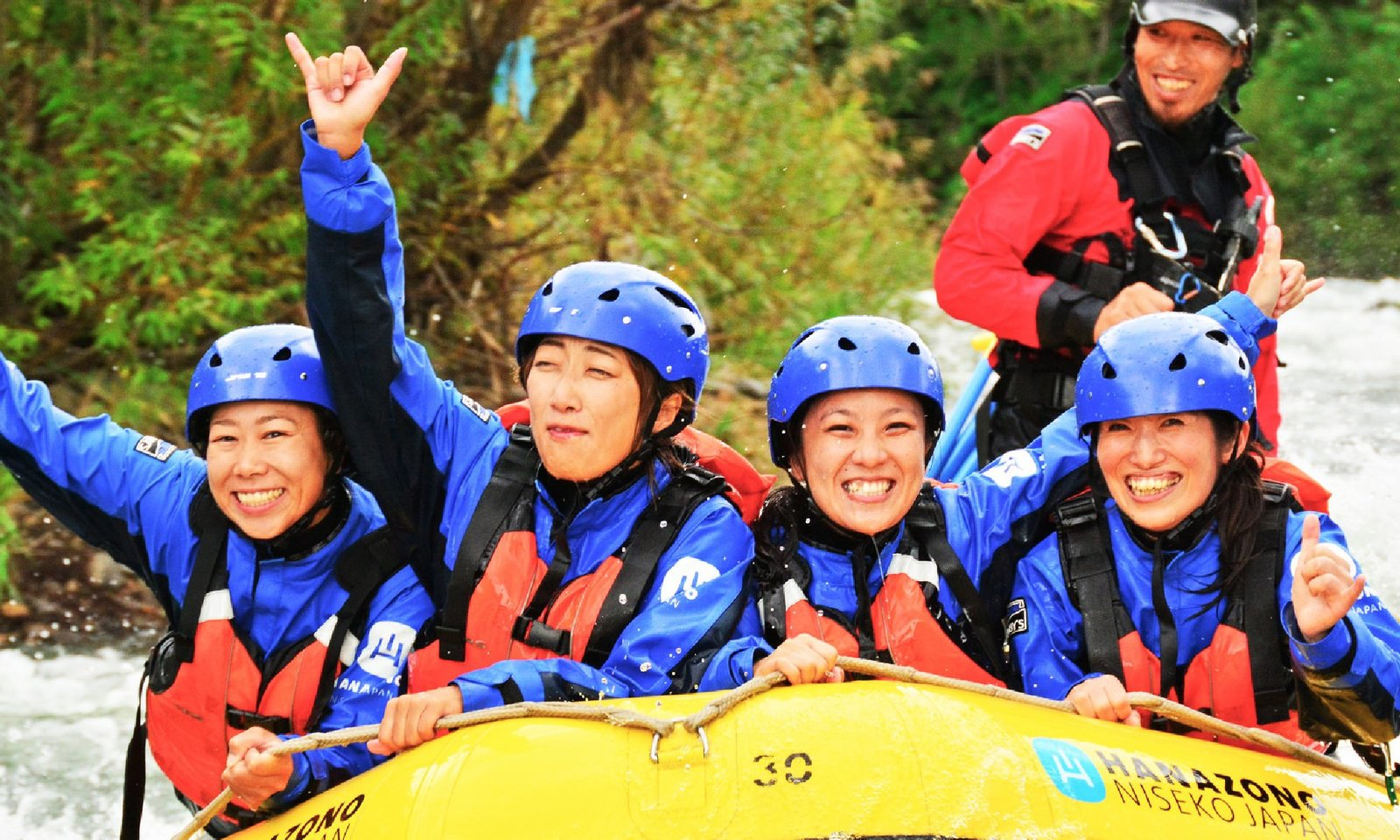 People having fun in Niseko Hanazono Rafting tour