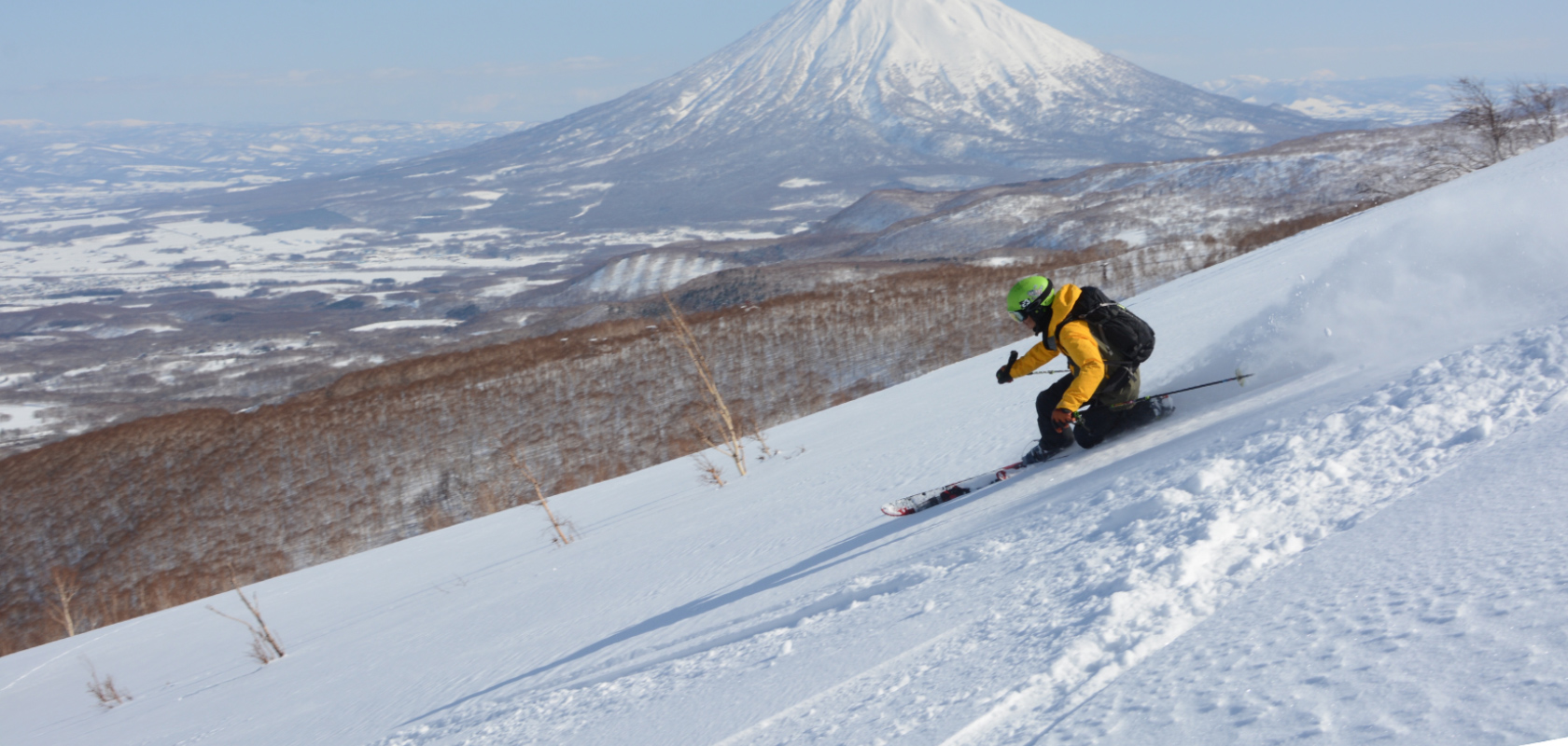 A skiier at HANAZONO Resort in Niseko, Japan.