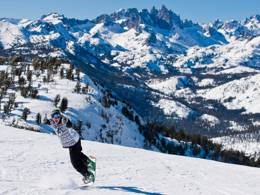 A snowboarder at Mammoth Mountain, California.