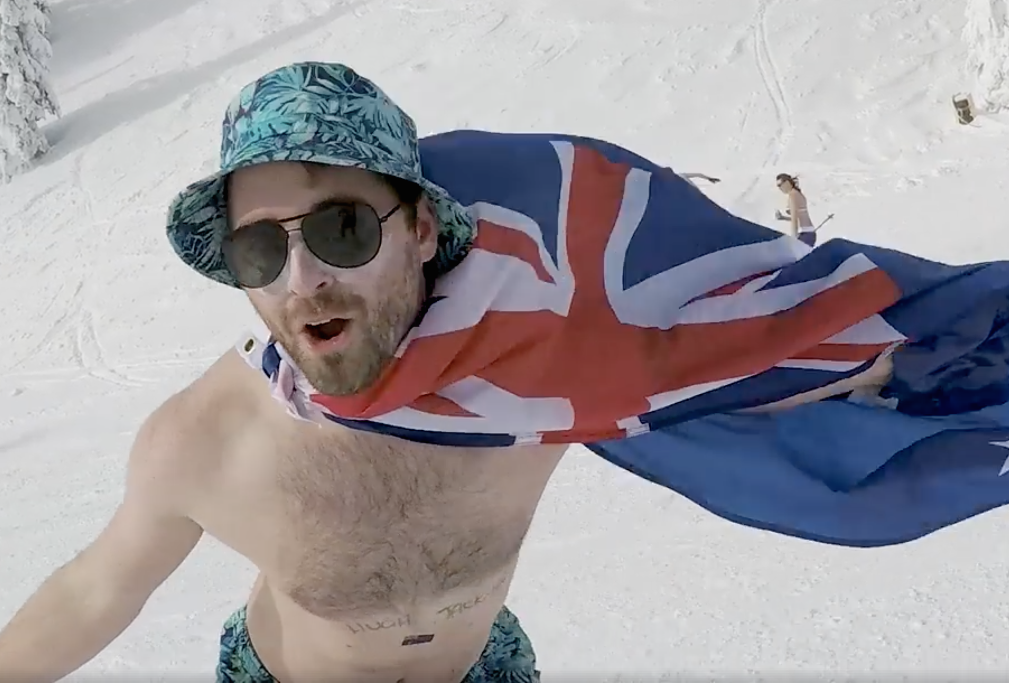 An Australian snowboarder with Australian Flag snowboarding on Australia day.