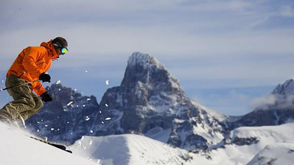 Skier high up in the mountains at Grand Targhee Resort, Wyoming.
